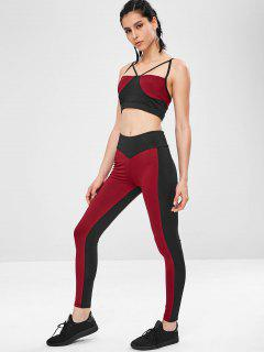 Two Tone Gym Bra And Leggings Suit - Red Wine L