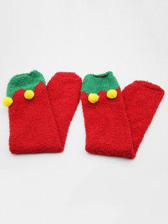 Fuzzy Ball Embellished Floor Socks - Red