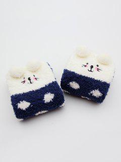 Rabbit Pattern Fuzzy Winter Socks - Lapis Blue