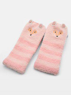 Cartoon Fox Panda Fuzzy Socks - Pink