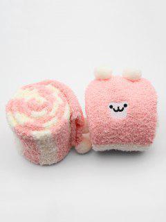 Cute Animal Color Block Fuzzy Socks - Pink