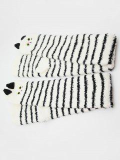 Cute Animal Color Block Fuzzy Socks - Black