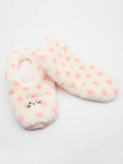 Fuzzy Polka Dot Floor Socks - Pink