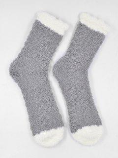 Winter Fuzzy Simple House Socks - Gray