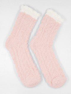 Winter Fuzzy Simple House Socks - Light Pink