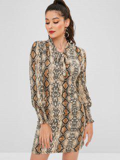 Robe Plissée Serpent Imprimée à Nœud Papillon - Multi L