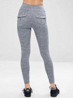 Pocket Space Dye Workout Gym Leggings - Gray L