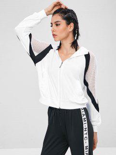 Sweat à Capuche De Sport Zippé Panneau En Maille - Blanc Xl