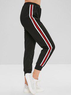 Striped Side Jogger Pants - Black L