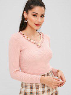 Buttons Embellished V Neck Knitwear - Pink