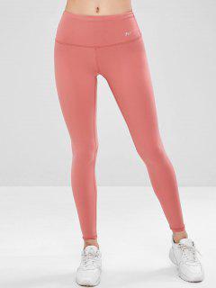 Flat Lock Compression Sports Leggings - Flamingo Pink M