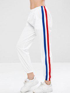 Side Tape Track Jogger Pants - White L