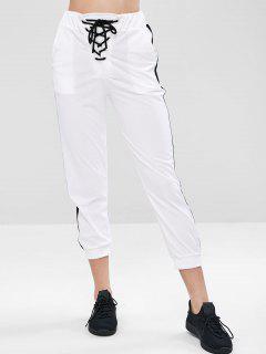 Lace-up Pocket Gym Jogger Pants - White M