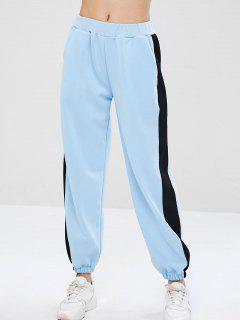 Pantalones De Chándal Con Paneles De Los Joggers - Azul Claro L