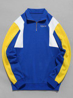 Top Zipper Contrast Color Sweatshirt - Blue M