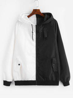ZAFUL Contract Color Drawstring Hooded Zipper Jacket - White 2xl