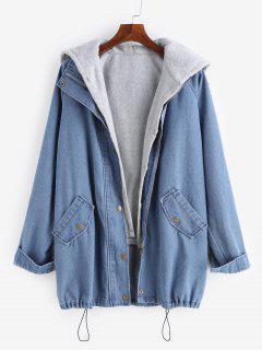 ZAFUL Hooded Zip Fly Denim Jacket Two-piece Set - Denim Blue Xl