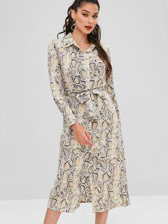 Belted Snake Print Shirt Dress - Multi L