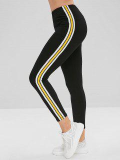 Elastic Waist Striped Patched Skinny Pants - Black L