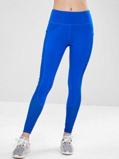 ZAFUL Workout Perforated Pocket Gym Leggings - Blue M