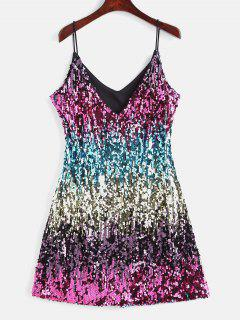 Sparkly Sequin Cami Night Out Party Dress - Multi S