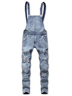Zip Fly Distressed Denim Jumpsuit - Light Blue S