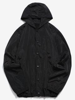 Solid Snap Button Windbreaker Jacket - Black 3xl