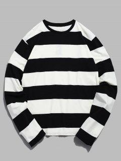 Contrast Striped Long Sleeve T-shirt - White L