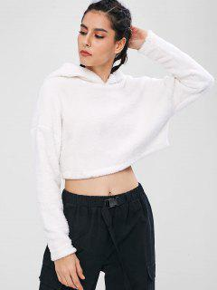 ZAFUL Fluffy Drop Shoulder Crop Teddy Hoodie - White L