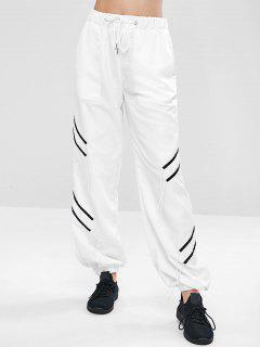 Drawstring Waist Jogger Sweat Pants - White S