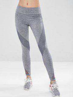 Workout Space Dye Mesh Panel Leggings - Gray L