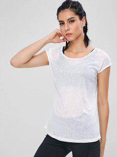 Semi Sheer Sports Top - White L