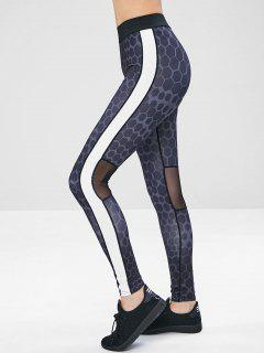 Workout Contrast Mesh Insert Print Leggings - Multi L