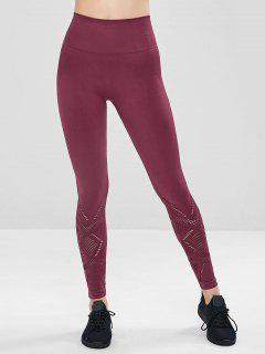 Perforated Wide Waistband Gym Leggings - Red Wine M