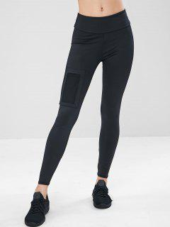 Wide Waistband Mesh Pocket Workout Leggings - Black M
