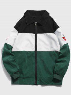 Layered Color Block Zipper Jacket - Sea Turtle Green 2xl