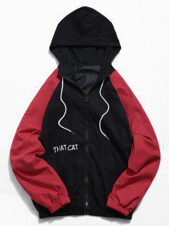 Raglan Sleeve Contrast Cat Graphic Jacket - Black S