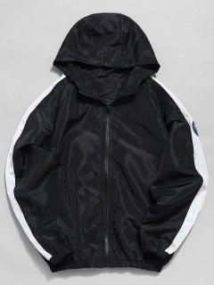 Contrast Sleeve Stripe Applique Windbreaker Jacket - Black 2xl