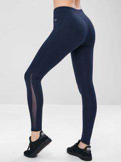 Flat Lock Paneled Sports Leggings - Deep Blue L