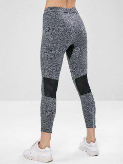 Perforated Space Dye Yoga Gym Leggings - Gray L