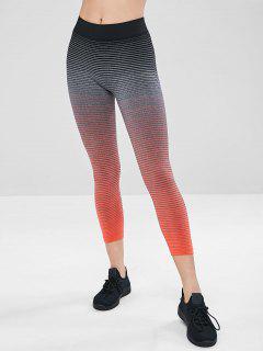 Elastic Striped Capri Gym Leggings - Orange L