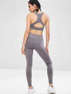 Racerback Gym Bra And Leggings Set - Gray L