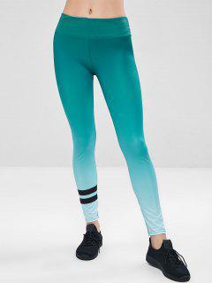 Workout Ombre Yoga Gym Leggings - Green Xl