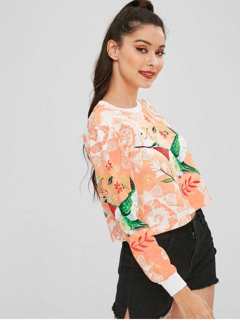 trendy Cropped Floral Print Pullover Sweatshirt - MULTI L Mobile