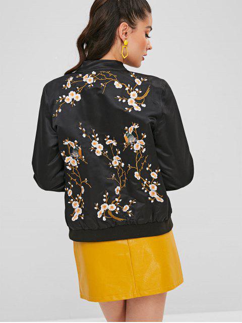 affordable Floral Birds Embroidered Souvenir Jacket - BLACK M Mobile