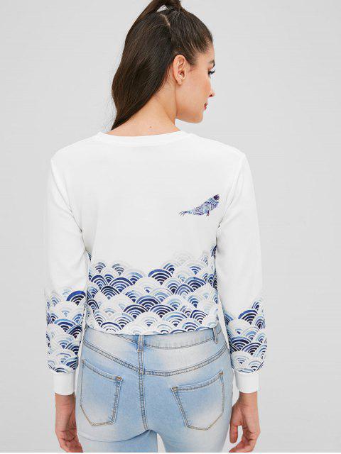 womens Cloud Bird Graphic Cropped Sweatshirt - WHITE S Mobile