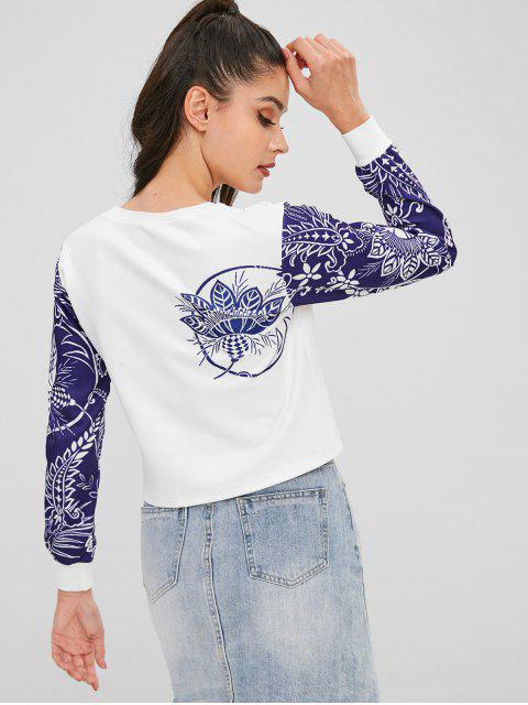 womens Two Tone Floral Print Cropped Sweatshirt - WHITE L Mobile