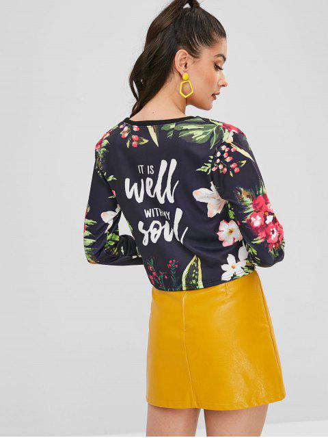 women Floral Graphic Printed Cropped Sweatshirt - BLACK S Mobile