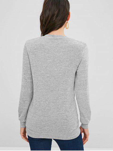 fashion Low Cut Surplice Knitted Top - GRAY S Mobile