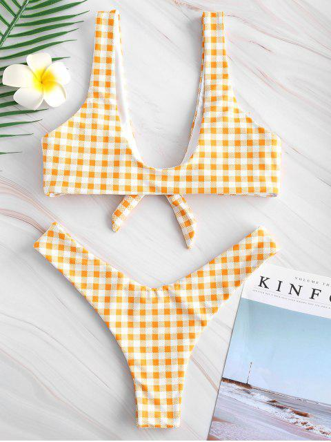 trendy Knotted High Leg Plaid Bikini Set - YELLOW S Mobile